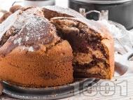 Рецепта Пухкав кекс с какао, канела и орехи (с прясно мляко и бакпулвер)